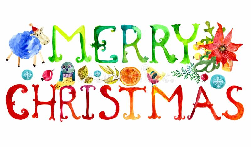 Merry Christmas watercolor text stock illustration