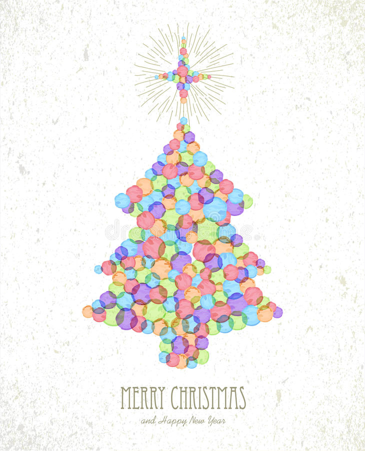 Merry Christmas watercolor tree card background vector illustration