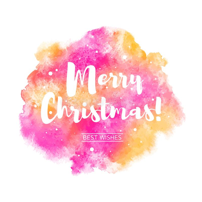 Merry Christmas watercolor vector greeting card vector illustration