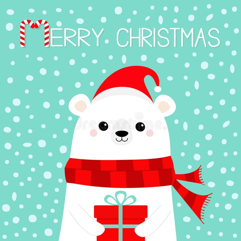 Merry Christmas. White polar bear cub face holding gift box present. Red Santa hat, scarf. Cute cartoon baby character. Happy New stock illustration
