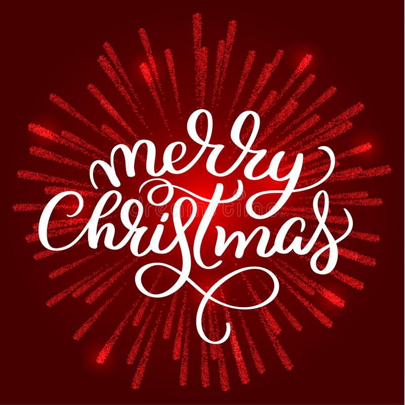 Merry Christmas white text on on red fireworks background. Hand drawn Calligraphy lettering Vector illustration EPS10 royalty free illustration