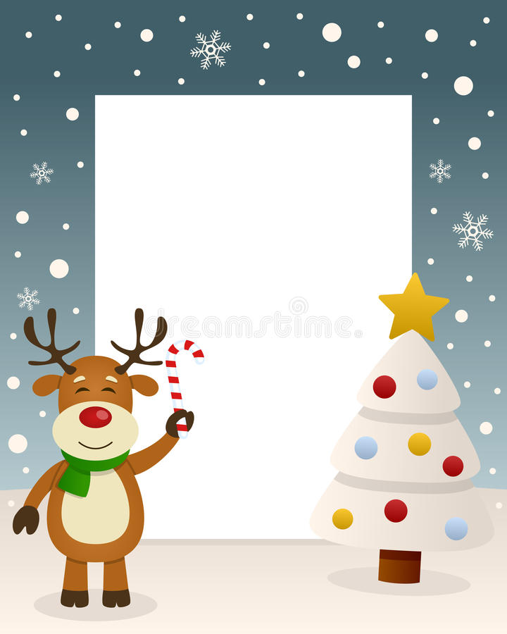 Merry Christmas White Tree - Reindeer stock photography