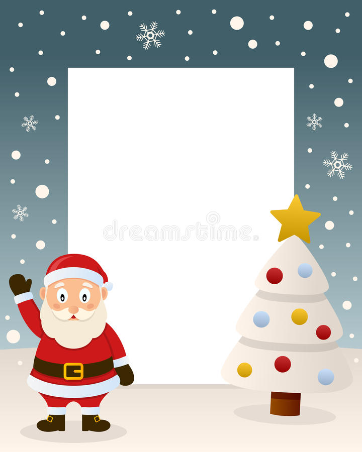 Merry Christmas White Tree - Santa Claus stock photo