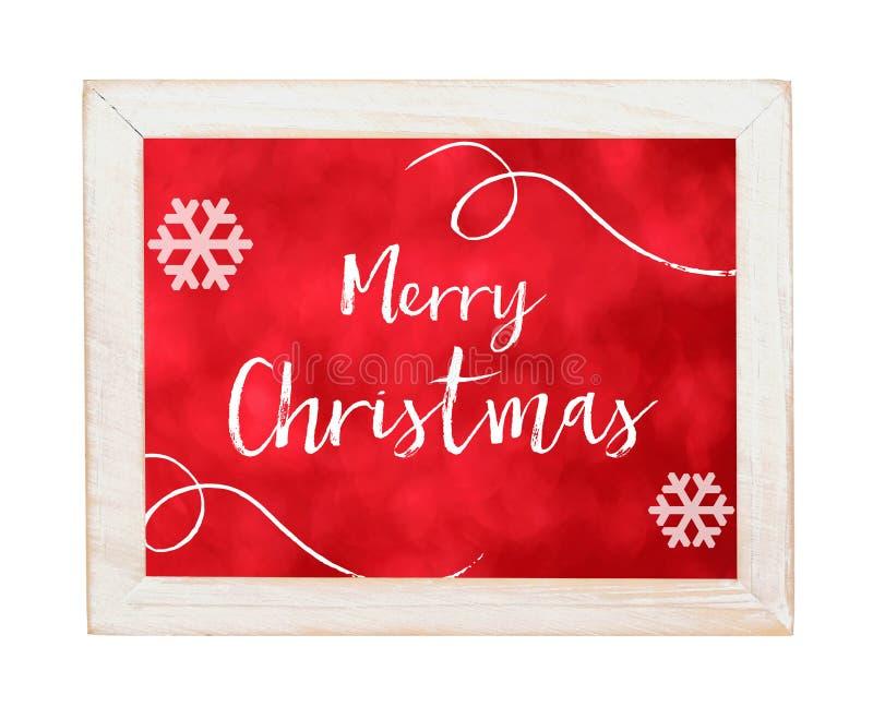 Merry Christmas on white wooden frame isolated on white background. Merry Christmas on red background and white wooden frame isolated on white background, flat stock illustration