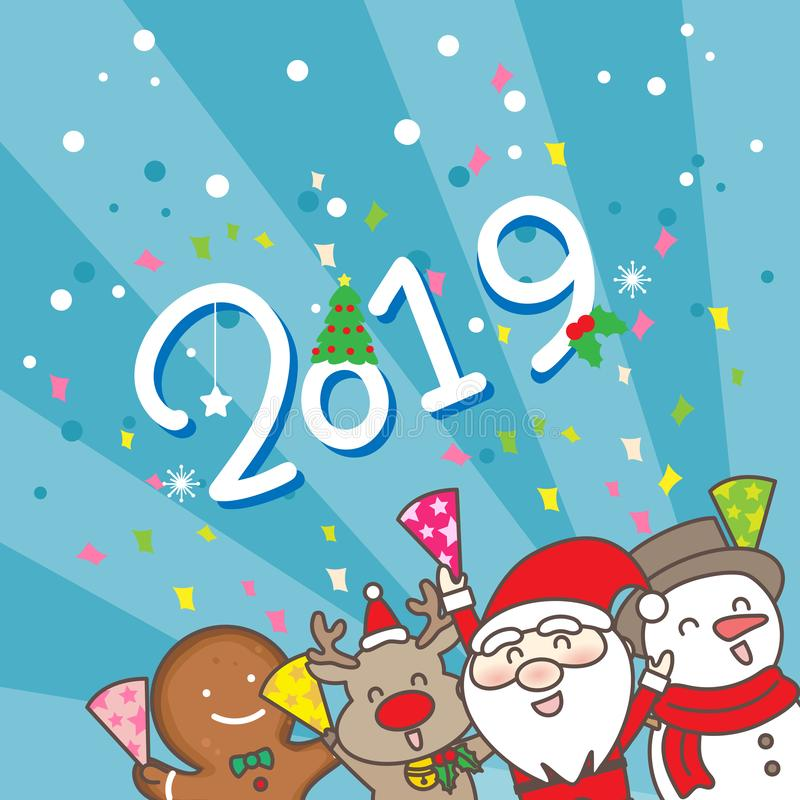 Merry Christmas wih 2019 royalty free illustration