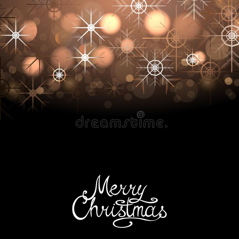 Merry Christmas winter abstract glowing background with sparkles and snowflakes. Vector xmas greeting card. Poster, postcard with calligraphy lettering vector illustration