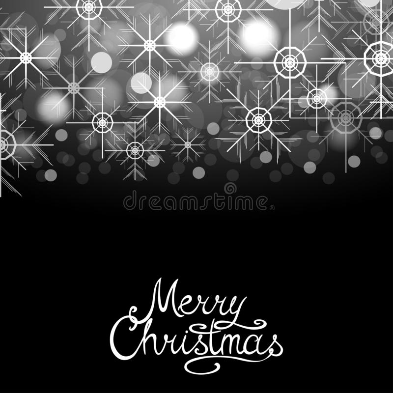 Merry Christmas winter abstract glowing background with sparkles and snowflakes. Vector xmas greeting card, poster. Postcard with calligraphy lettering vector illustration