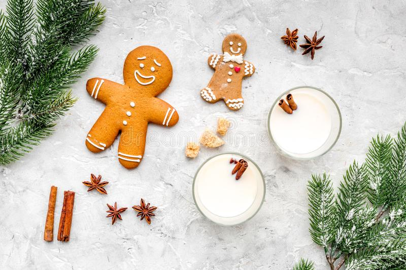 Merry christmas in winter evening with alcohol drink. Eggnog with gingerbread cookie, cinnamon and spruce on stone desk stock images