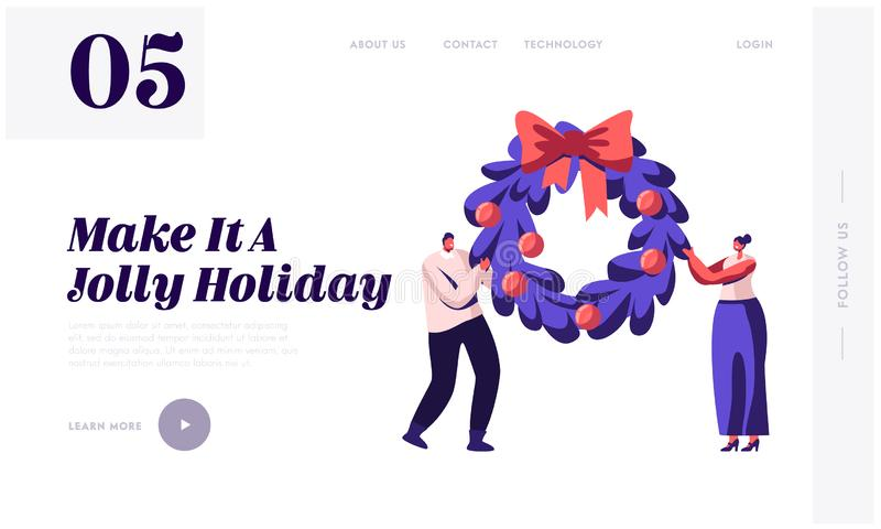 Merry Christmas Winter Holidays Website Landing Page. Happy Characters Holding Festive Xmas Fir-Tree Wreath vector illustration