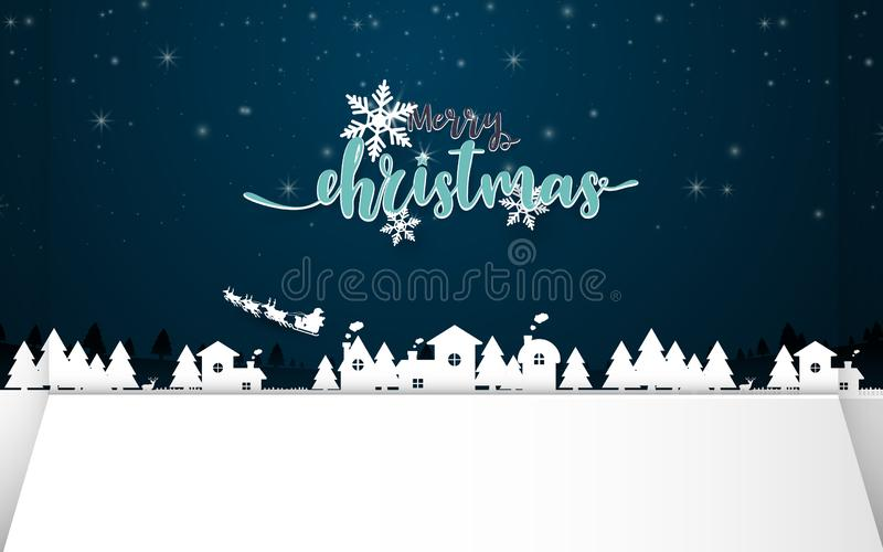 Merry christmas. Winter Snow with night countryside landscape. Paper and craft art vector illustration