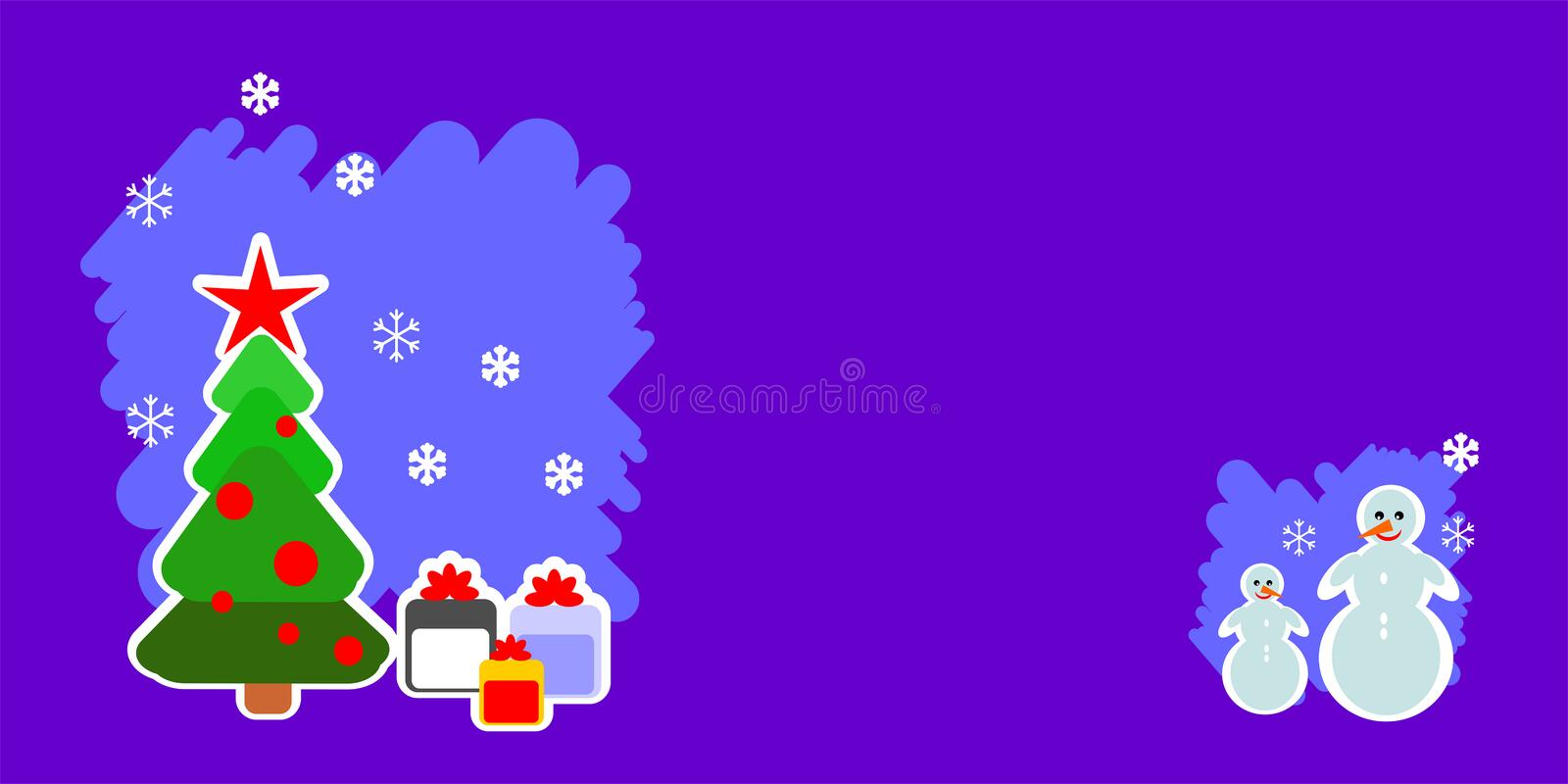 Merry christmas winter tree, new year tree, snowman, postcard, patterns design, new, 2019, banner, stock illustration