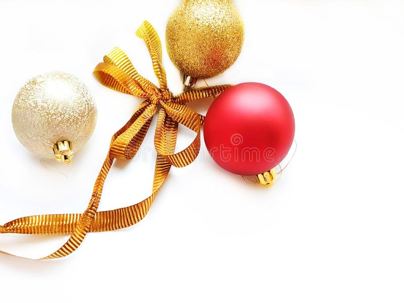 Merry Christmas wishes  greetings card, red silver and gold  ball on white background with best quotes text  season banner copy s. Copy space Winter Christmas stock image