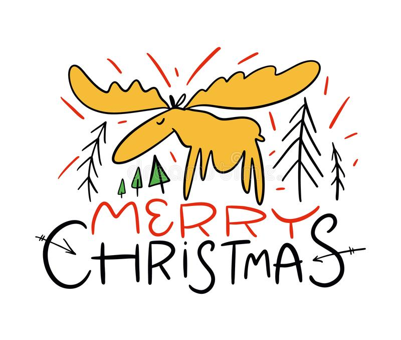 Merry Christmas. Wishes and Winter Holiday Elements. Christmas. Cartoon vector illustration. royalty free illustration