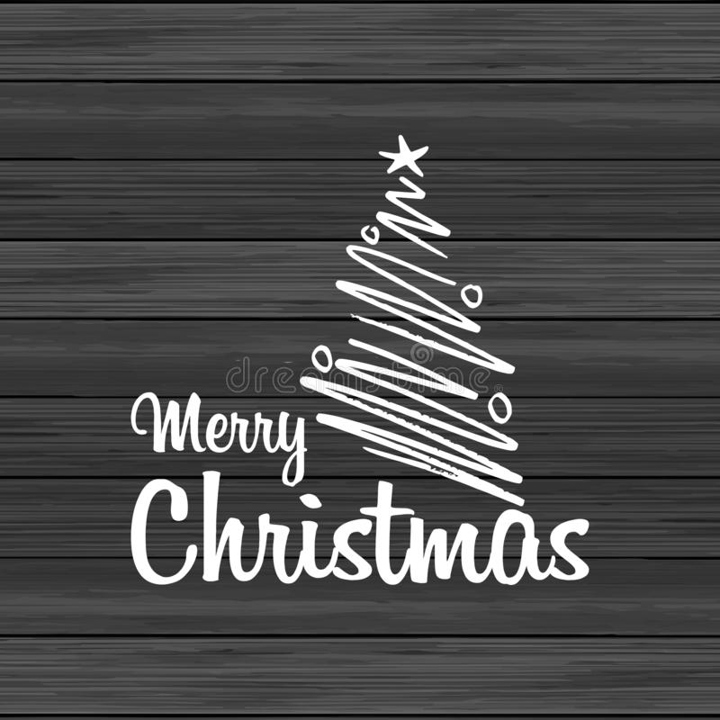 Merry Christmas Wood Background With Creative Lettering. Vector EPS10 Abstract Template background royalty free illustration