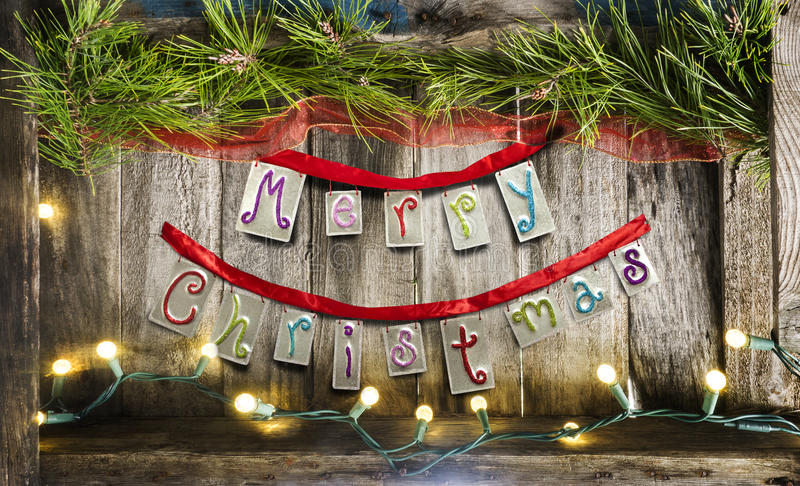 Merry Christmas on vintage wood stock images
