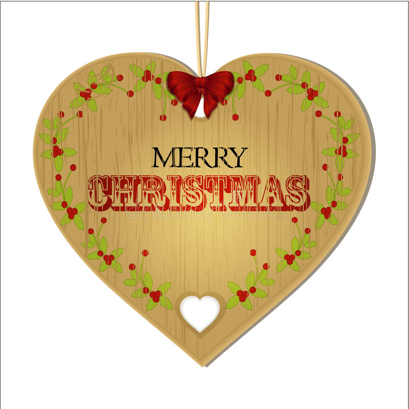 Merry Christmas wooden heart. Wit Text Bow and String vector illustration