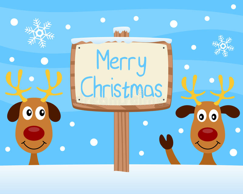 Merry Christmas Wooden Sign. A wooden sign wishing Merry Christmas with two funny reindeer on a snowy background. Eps file available vector illustration