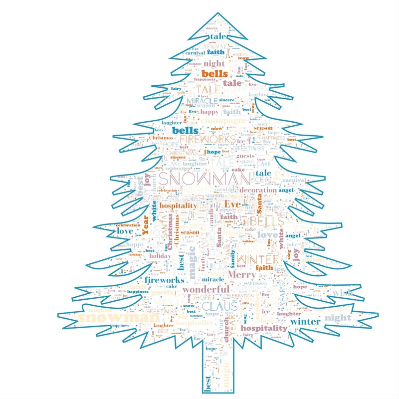 Merry Christmas word cloud in tree shape stock illustration