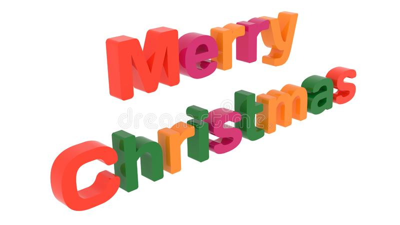 Merry Christmas Word 3D Rendered Text With Bold Font Illustration Colored With Tetrad Colors 6 Degrees. Isolated On White Background royalty free illustration