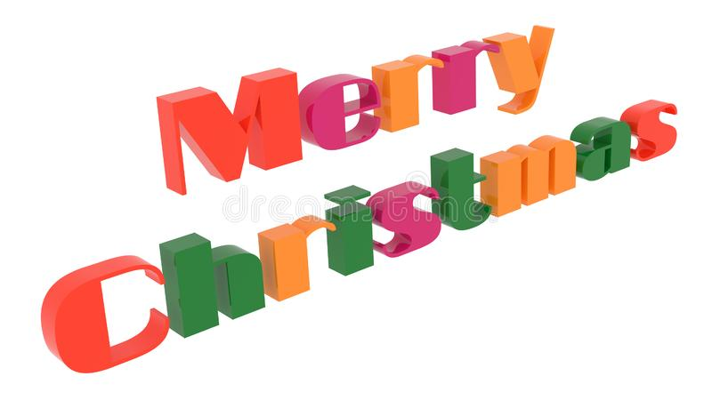 Merry Christmas Word 3D Rendered Text With Bold, Funny Font Illustration Colored With Tetrad Colors 6 Degrees. Isolated On White Background vector illustration