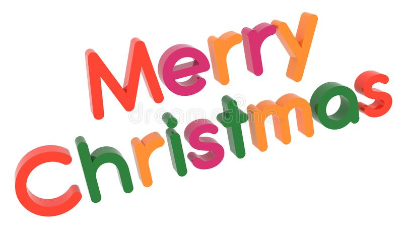 Merry Christmas Word 3D Rendered Text With Calligraphic, Thin Font Illustration Colored With Tetrad Colors 6 Degrees stock illustration