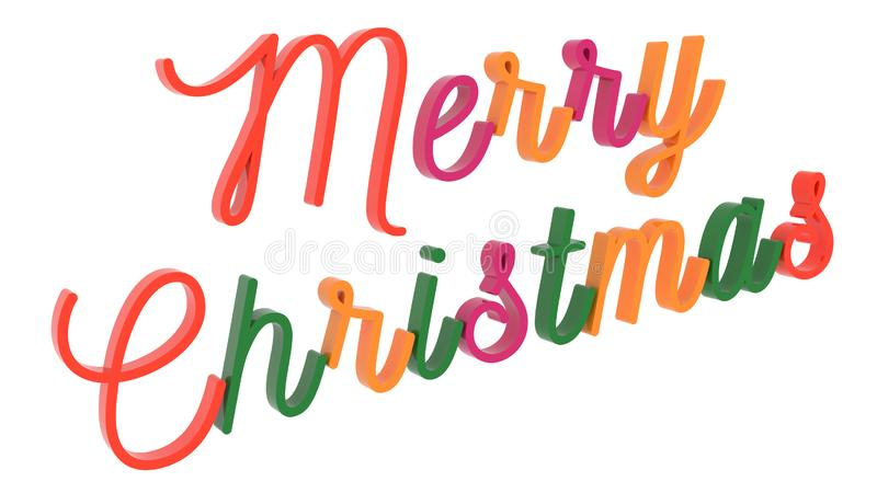 Merry Christmas Word 3D Rendered Text With Calligraphic, Thin Font Illustration Colored With Tetrad Colors 6 Degrees vector illustration