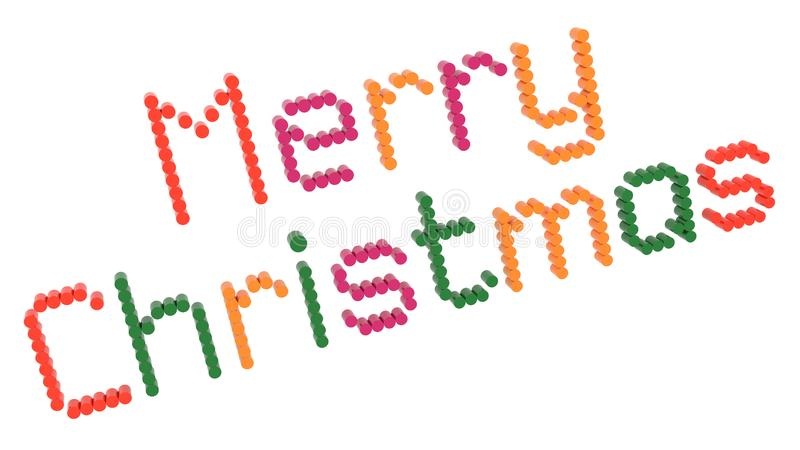 Merry Christmas Word 3D Rendered Text With Dotted Font Illustration Colored With Tetrad Colors 6 Degrees vector illustration