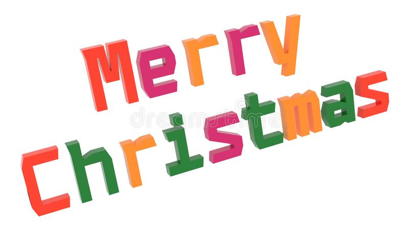Merry Christmas Word 3D Rendered Text With Geometry, Old Style Font Illustration Colored With Tetrad Colors 6 Degrees. Isolated On White Background stock illustration