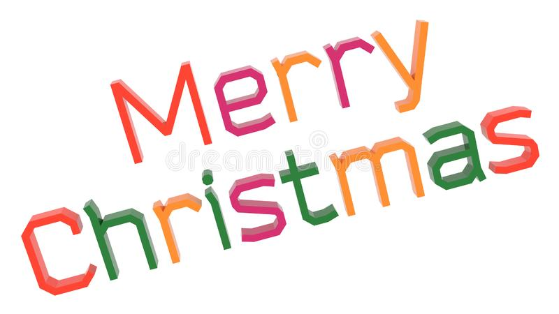 Merry Christmas Word 3D Rendered Text With Simple Font Illustration Colored With Tetrad Colors 6 Degrees. Isolated On White Background stock illustration