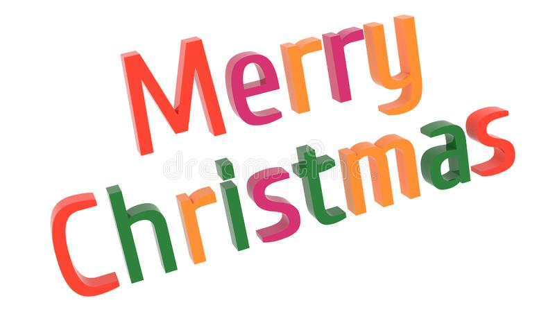 Merry Christmas Word 3D Rendered Text With Stencil Font Illustration Colored With Tetrad Colors 6 Degrees. Isolated On White Background vector illustration