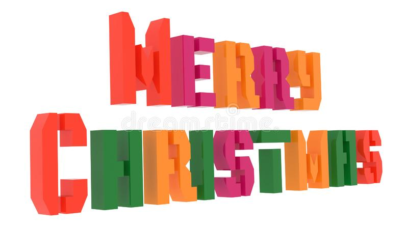 Merry Christmas Word 3D Rendered Text With Stencil Font Illustration Colored With Tetrad Colors 6 Degrees royalty free illustration