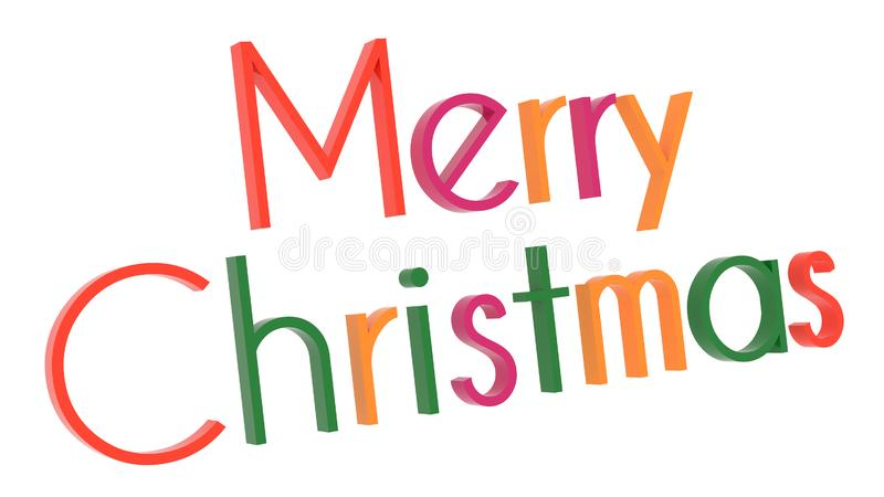 Merry Christmas Word 3D Rendered Text With Techno, Futuristic, Subway Font Illustration Colored With Tetrad Colors 6 Degrees. Isolated On White Background stock illustration