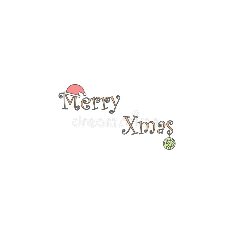 Merry Christmas word with decorations colored icon. Element of Christmas holiday colored icon. Premium quality graphic design icon. Signs and symbols vector illustration