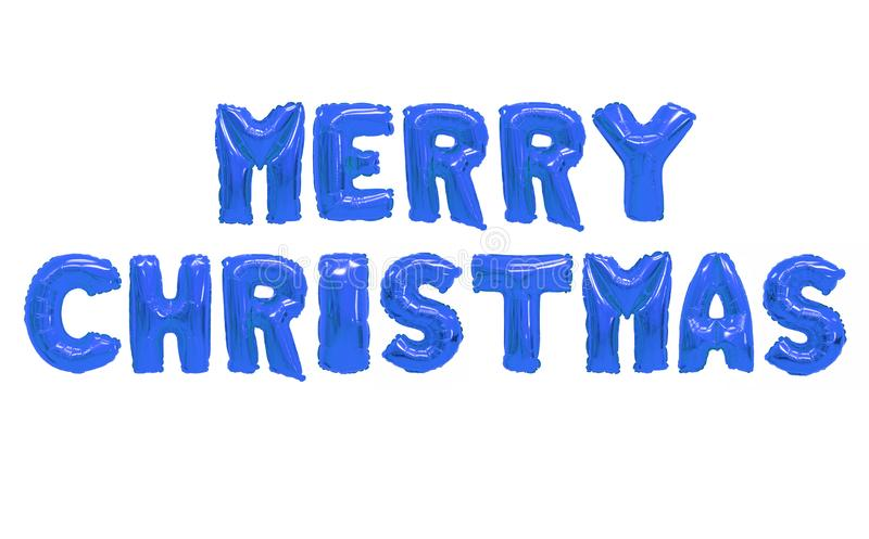 Merry christmas. Word merry christmas in english alphabet from dark blue balloons on a white background. holidays and education stock images