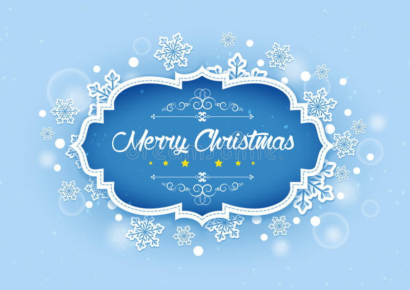Merry Christmas Word in Winter Background royalty free illustration