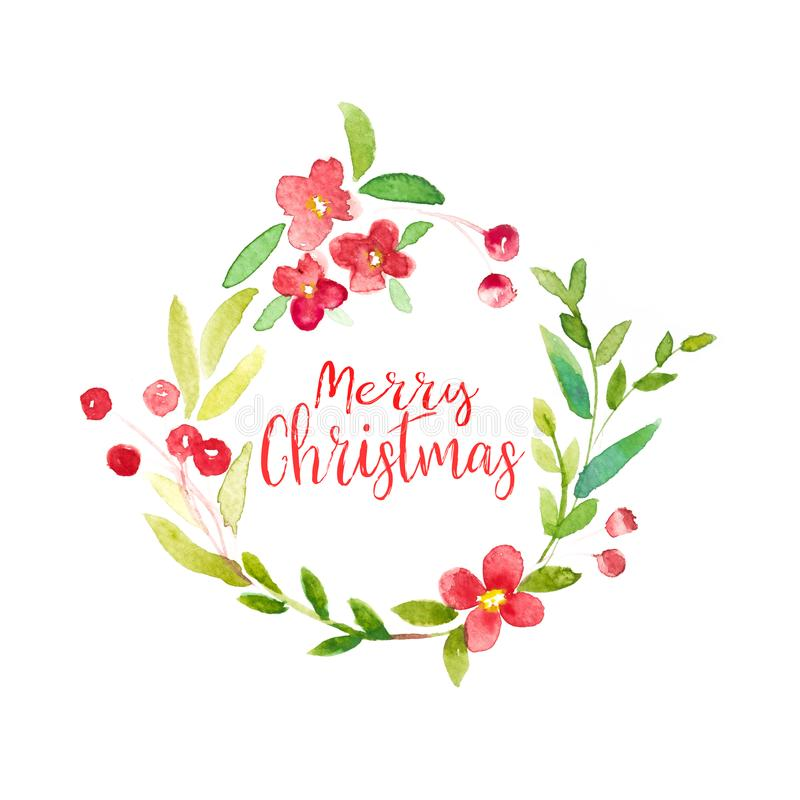 Free Merry Christmas Word With Watercolor Christmas Frame Of Green Le Royalty Free Stock Photos - 102980248
