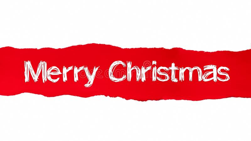 MERRY CHRISTMAS word written under the curled piece of Red torn paper royalty free illustration