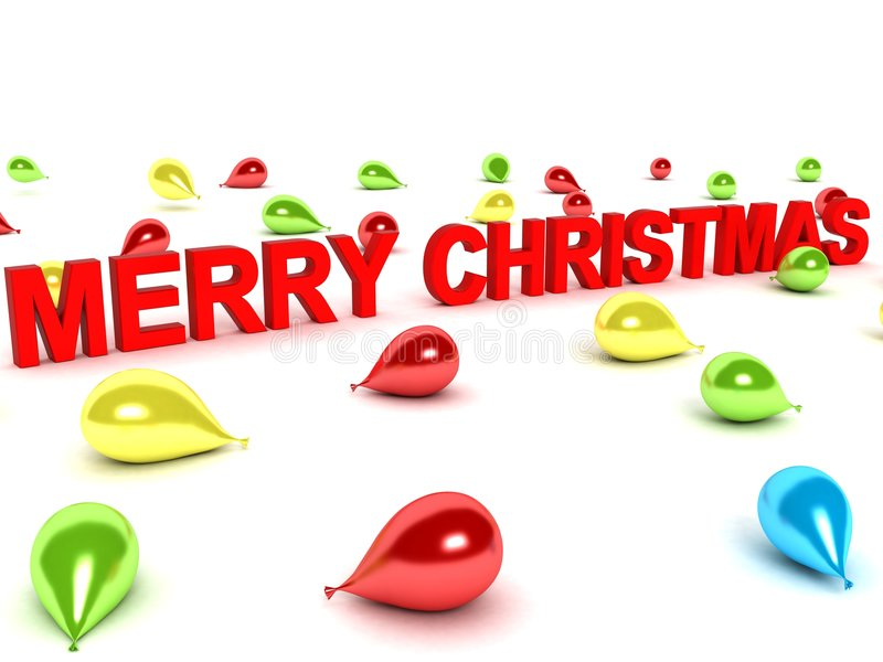 Merry christmas words and balloons. Isolated 3D merry christmas words and balloons stock illustration