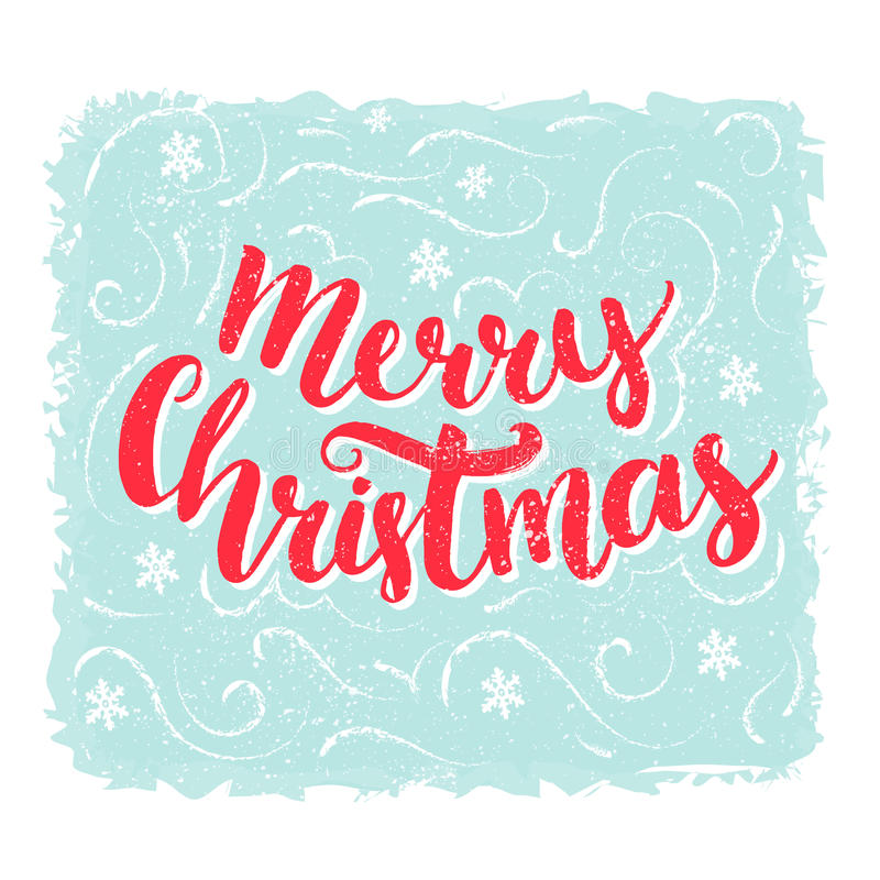 Merry Christmas words. Brush lettering text at blue vintage background. Vector greeting card design. stock illustration