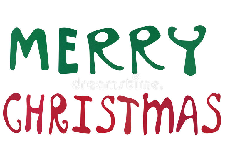 Merry Christmas words made of paper art. Isolated on white stock illustration