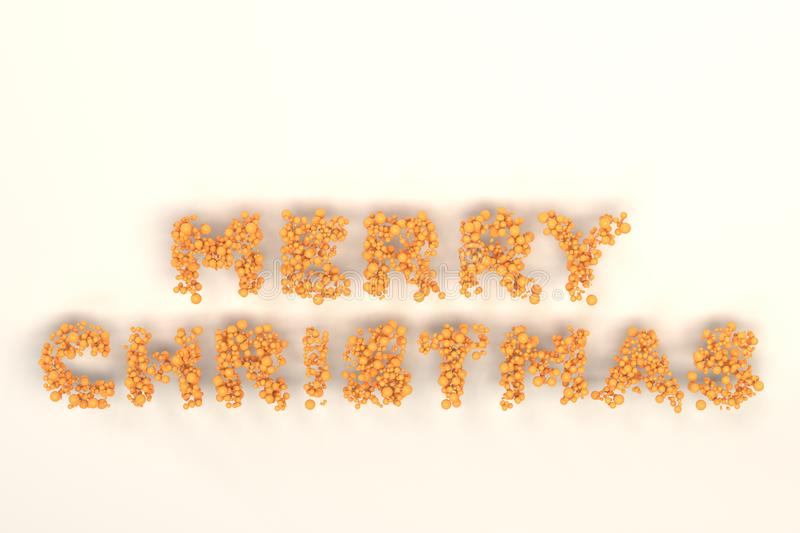 Merry Christmas words from orange balls on white background. Christmas sign. 3D rendering illustration royalty free illustration