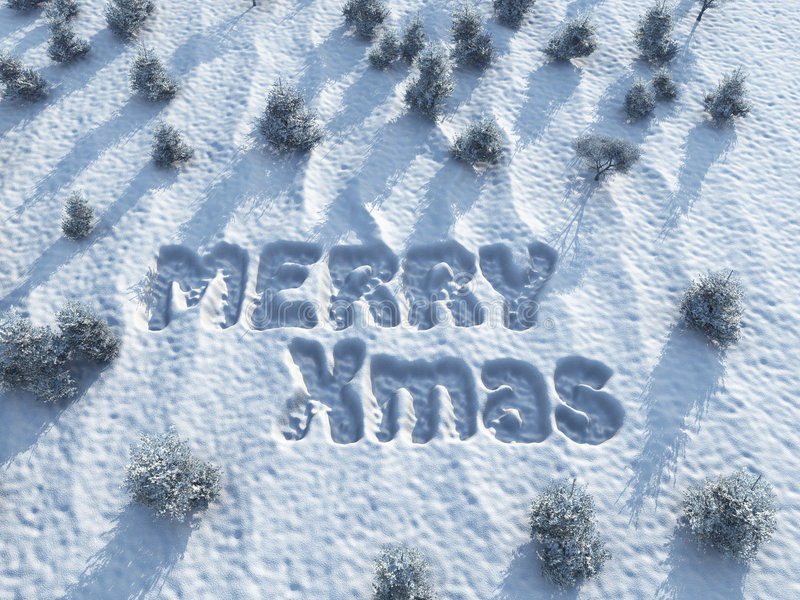 Merry Christmas, words on snow. Illustration royalty free illustration