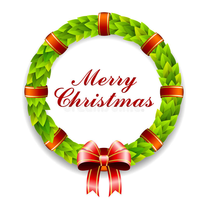 Merry Christmas Wreath. An illustration of a brightly colored green wreath with the text Merry Christmas vector illustration