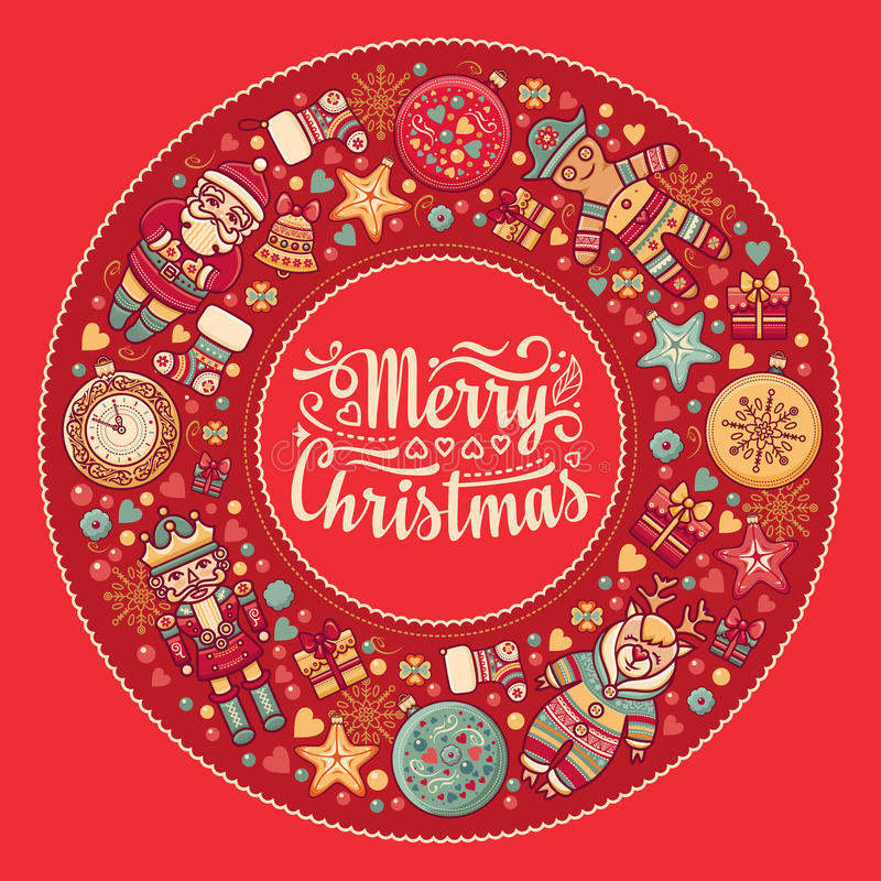 Merry Christmas wreath with Christmas toys. Balls, Santa Claus. Nutcracker, Snowman, gift box. Christmas tree, clock, Reindeer. Colorful round frame for vector illustration