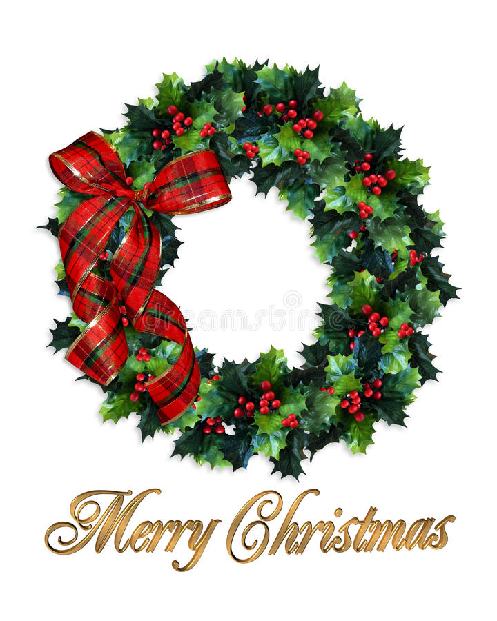 Merry Christmas wreath holly stock illustration