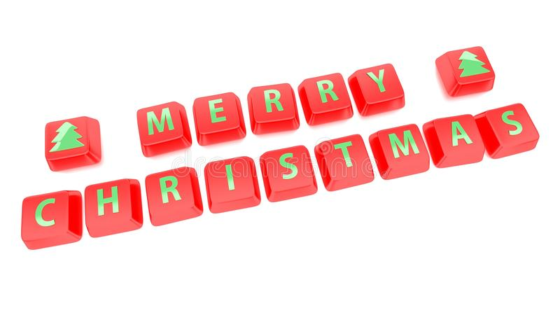 MERRY CHRISTMAS written in green on red computer keys. 3d illustration. Isolated background stock illustration