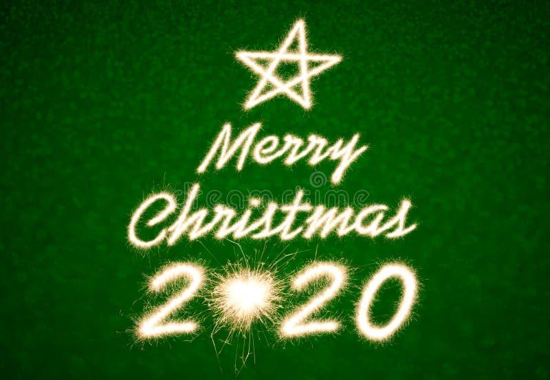 Merry Christmas 2020. Merry Christmas, 2020 written with Sparkle firework stock photo