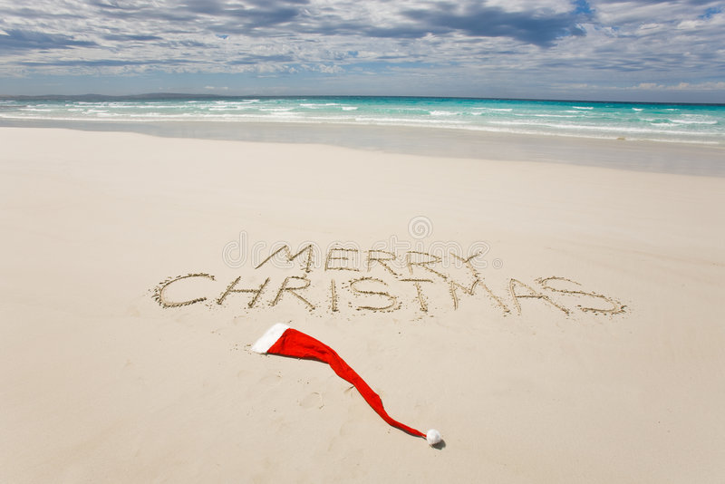 Download Merry Christmas Written On A Tropical Beach Stock Image - Image: 7478309