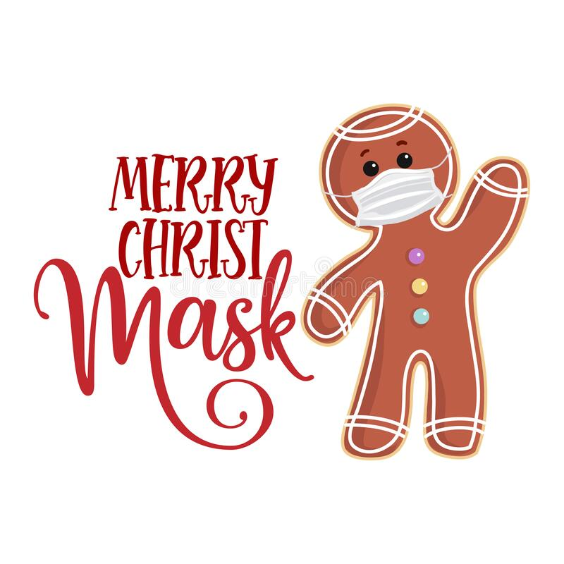 Free Merry Christmask Christmas Mask With Gingerbread Man In Coronavirus Royalty Free Stock Images - 197865559