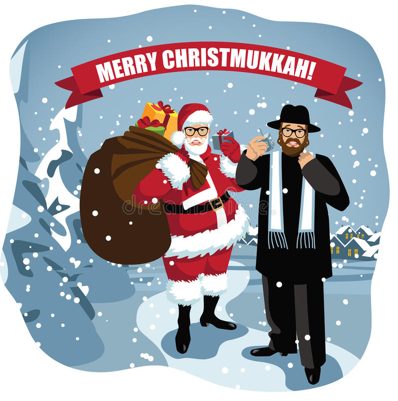 Merry Christmukkah Santa and Rabbi in snowy scene. Combines Christmas and Hanukkah EPS 10 vector illustration royalty free illustration